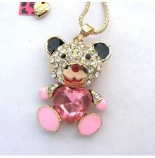 NWT Betsey Johnson Necklace Pink Enamel Teddy Bear �� Crystals Adorable