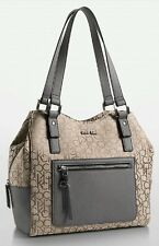 Calvin klein nadina logo center zip hobo shoulder bag natural w slate