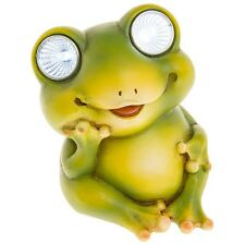 "SMALL ""BRIGHT EYES"" SOLAR FROG LED GARDEN LIGHT ORNAMENT NEW BOXED 66946"