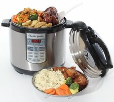 ELECTRIC 7IN1 PRESSURE COOKER 8 LITRE 1250W BRUSHED STAINLESS STEEL 17 PROGRAMME