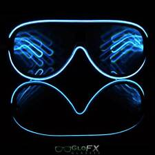 Aviator Diffraction Rave Glasses Blue EL Kaleidoscope Light Up Strobe Party EDM