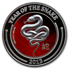 2013 1/2 oz Silver Niue $2 Lunar Snake Coin in Reptile Egg Case