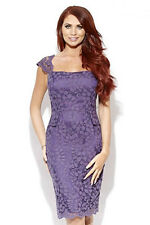 BNWT Amy Childs Lipsy Lace Size 8 Purple Midi Pencil Dress Party Wedding Races
