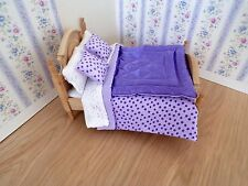 Miniature 1/12th scale dolls house BEDDING SET double bed  Lilac Eiderdown