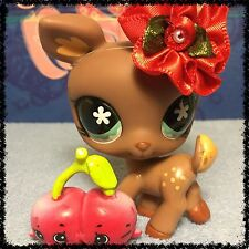Littlest Pet Shop #670 Brown Spotted Deer w/ Aqua Eyes w/ Shopkins BLEMISHED