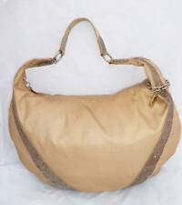 LESPORTSAC REMIX USED KHAKI/GOLD NYLON/DISTRESSED PVC SHOULDER BAG/HOBO W/CHARM
