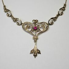 Antique Victorian 14K Gold Seed Pearl & Ruby Lavaliere Necklace (RL1611F)