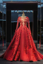 Long-sleeve Red Quinceanera Pageant Ball Gown Wedding Bridal gown Prom dress