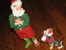 Dept 56 CLOTHTIQUE POSSIBLE DREAMS  Sneaking Around/Santa and dog #71007 NICE