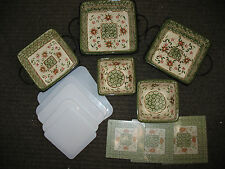NEW TEMP-TATIONS OLD WORLD 11 PC SQUARE OVEN-TO-TABLE SET W/ COVERS POINSETTIA