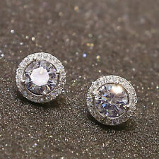 18K White Gold Plated Crystal Rhinestone Zircon Inlaid Earrings Ear Stud Jewelry