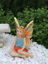 Miniature Dollhouse FAIRY GARDEN Accessories ~ Sitting Girl ORANGE Glitter Wings