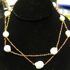 "Ruby and White Baroque Pearl Necklace, 34"" Chain"