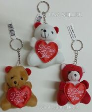 "3 Soft Teddy Bears KEYCHAIN Red Heart""I Love You""White,Red,Brown Key Chains"