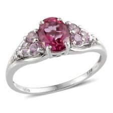 Pure Pink Mystic Topaz, Pink Sapphire, Ring Sterling Silver Size 8 TGW 2.1 Cts
