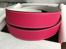 NIB Hermes 32 mm Constance Belt Strap Only Rose Tyrien White Leather Size 90 85