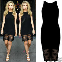 Womens Celeb Style Black Sheer Lace Party Evening Cocktail Bodycon Ladies Dress
