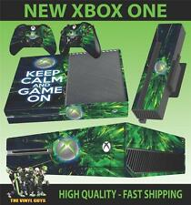 XBOX ONE CONSOLA PEGATINA KEEP CALM AND JUEGO CON PIEL & 2 PAD SKINS