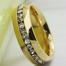 18K Gold Plated Stainless Steel Ring Cubic Zircon Inlay Size 5-15 valentine Gift