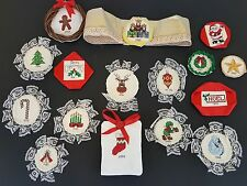 Cross Stitch Lot 16 Christmas ORNAMENTS Completed Santa Tree Angel Year Sampler