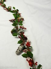 180cm 6ft Berry Pine Cone Snow Artificial Christmas Garland Indoor Decoration