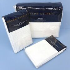 RALPH LAUREN Harlowe KING DUVET COVER SET 3pc SHAMS White COTTON West Village