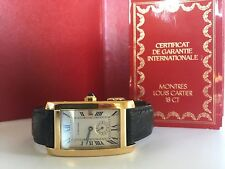 Cartier Watch 18k YellowGold Tank Americane Midsize Deployment Buckle Quartz Box