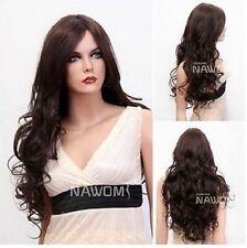 100% Real hair! Charm Women's Long Dark Brown Natural Hair Human hair Wigs