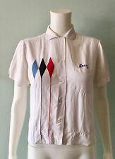 """Vintage 1950s White Rayon Bowling Shirt Blouse """"Joan"""" Size 34"""
