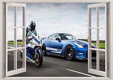 NISSAN GTR NISMO CAR RACING MOTOCROSS 3d Effect Window Wall Sticker Poster 176