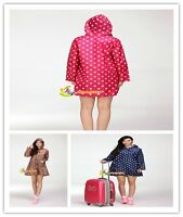 Women Rain Cover Raincoat  Rain Waterproof Coat Poncho Outdoor Polka Dots- CB