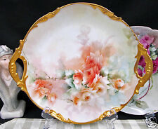 JP LIMOGES FRANCE PAINTED ROSES PLATTER GOLD HANDLE PLATE STUNNING