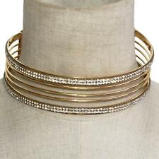 "5"" gold 5 row crystal choker collar necklace multi layer basketball wives"