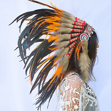 SALE! Feather Headdress -Native American Indian style War Bonnet- Orange Rooster