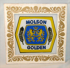 Vintage Molson Golden Beer Sign Painted Glass Home Bar Man Cave Decor