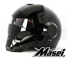Masei 610 Atomic-Man Iron Flip-Up Bike Motorcycle Helmet Glossy Black