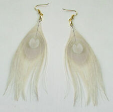 Ivory White Cream Bleached & Gold Peacock Feather Earrings Drop Long Big Vtg 6AF