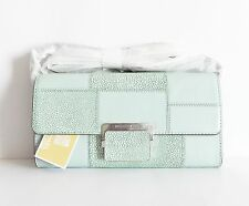 NWT Michael Kors Cynthia Large Embossed Leather Clutch /Shoulder Bag ~ Celadon