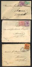 AUSTRALIA VICTORIA 1890-1900 3 CVR NAGAMBIE N MELBOURNE ALL TO AARAU SWITZERLAND