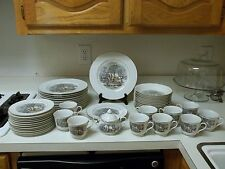 Avon Currier & Ives Saw Mill Winter Cabin China Set 50 Pieces ~ Plates