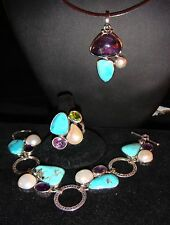 Turquoise, Amethyst, Pearl Pendant, Ring and Bracelet set in Sterling Silver