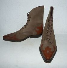 Tolle Ankle Boots Lace Up Schnür Hipster Vintage Leder Stiefelette Made in Spain