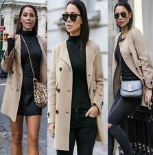 ZARA WOMAN HAND MADE WOOL COAT BEIGE CAMEL BLOGGERS SIZE SMALL S NEW