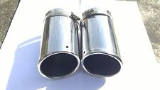NEW 1Pair Silver Paint Chrome Exhaust Muffler Tip Pipe Fit  for Audi Q7 3.0