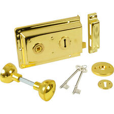 NEW Rim Lock with Handles Electro Brass Each