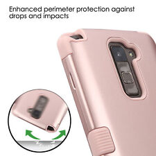 LG G Stylo 2 Plus (MS550) ROSE GOLD ARMOR HIGH IMPACT HYBRID PHONE CASE COVER