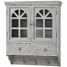GREY WASH WOODEN WALL MOUNTED CABINET WITH HOOKS AND DRAWERS