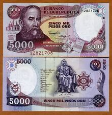 Colombia 5000 (5,000) Pesos, 1988, P-435b, UNC