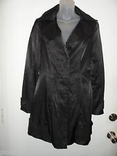 bebe M Trench Coat Jacket Black Long Collared Button Shiny Fall Winter NYE EUC