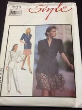 Style Fitted Revere Collar Jacket Pattern # 1522 Size 10 Uncut From 1988